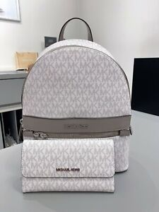 NWT Michael Kors Kenly Medium Backpack & Trifold Wallet Signature Optic White