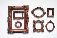 Mini Photo Frame Set of 7 Decorative Oval and Square Brown Frames Gold Patina