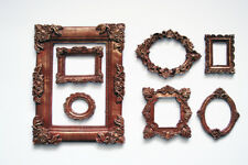 Photo Frame Set of 7 Decorative Round Square Brown Frames Gold Patina