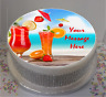 "Personalised Beach Cocktails 7.5"" Edible Icing Cake Topper birthday summer party"