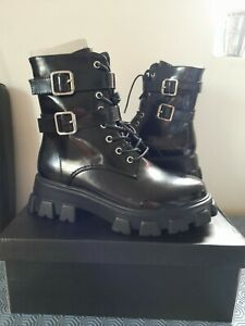 Ladies/ Girls Black Boots Size 3. Buckle Combat Boots. Large Soles. Shiny Upper.