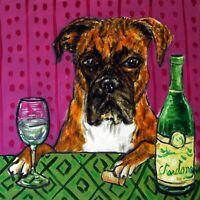 Boxer at the wine bar animal dog art tile coaster gift