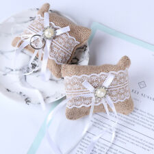 Lace Bow Ring Pillow Wedding Vintage Burlap Jute Cushion Valentine's Day G.kn