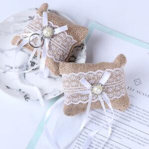 Lace Bow Ring Pillow Wedding Vintage Burlap Jute Cushion Valentine's Day GifAP1