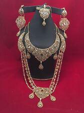 Sale!!!!NWOT Indian  Polki Kundan  Bridal Double Necklace 5 Pieces  Jewelry Set