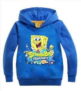 New SpongeBob SquarePants Boys Girls unisex Kids tops hoodie suit 4 to 12 years