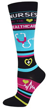 Nurse Healthcare Medical 10-14mmHG Fashion Compression Socks (Black)