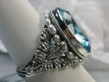 *Aquamarine*& Pearl Sterling Silver Art Nouveau Floral Filigree Ring Size 11