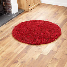 Large Modern Thick Plain Red Colour 5cm High Pile Round Shaggy Rug 133 X 133 Cm