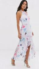 New🌹Lipsy🌹Size 16 Multi Blue Floral Print Halterneck Frill High Low Maxi Dress
