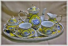 Charming TEA FOR TWO MINIATURE PORCELAIN TEA SET with TRAY Sevres 15506