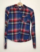 SALE ABERCROMBIE & FITCH Womens Top Multi-Plaid Flannel Button Up Size XS