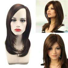 Women Long Straight Lace Full Front Bangs Hair Wig Stylish Synthetic Wigs