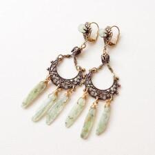 Jan Michaels Boho Antique Brass Filigree Kyanite Jade Large Chandelier Earrings