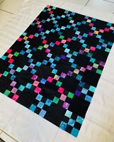"""Irish Chain Quilt Top Approx. 42"""" x 54"""" Batik Unfinished Multicolor  on Black"""