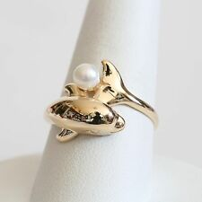 """KABANA SOLID 14K GOLD & PEARL """"DOLPHIN"""" RING, 4.2 gms., size 8.75, EXC!"""
