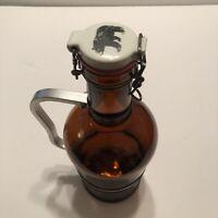 2 Liter Growler Amber Brown Glass Bottle Bear Print Brewery Decanter Liquor Bar