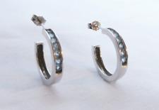 Blue Topaz 14K White Gold Post Hoop Earrings New
