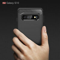 For Samsung Galaxy S10 Carbon Fibre Soft Protective Shockproof Case Cover Black