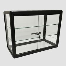 Glass Counter Top Aluminum Frame Locking Jewelry Display Case w/ 2 Shelves Black