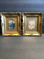 Vintage Antique Pair Of Gilded Gold Small Frames With Pinky Girl And Blue Boy