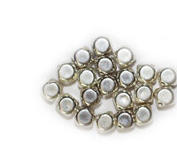 8mm Cornerless Square Bevel Cube Bright Silvertone Metalized Metallic Beads