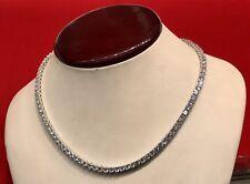 14K White Gold Over 925 - 18 Carat Round Cut VVS1/D Diamond Tennis 4mm Necklace