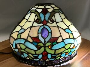 DALE TIFFANY Jeweled Stained Leaded Glass Table Lamp Shade