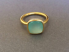 AQUA Chalcedony Square Gold Stackable Ring Faceted Vermeil Gold Ring Size 7