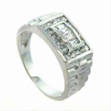 925 Silver Mens CZ Chunky Designer Inspired Band Ring Size 11