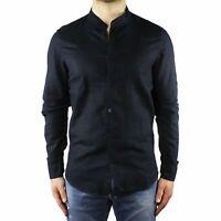 Camicia Uomo Collo Coreana Lino Slim Fit Manica Lunga Estiva Sartoriale Blu