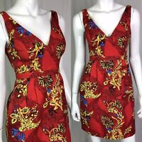 $225 Plenty Tracey Reese Women's 0 Red Blue Floral V-Neck Pleated Sheath Dress