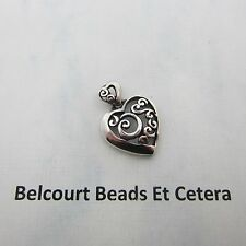 Antiqued Black Heart Pendant Charm with Bail .925 Sterling Silver 24mm x 18mm