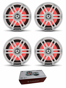 "Two Pair of Rockford White 6.5"" 2400W 4 Ohm Color Optix Marine 2 Way M2-65"