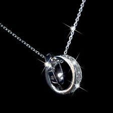 18K WHITE GOLD MADE WITH SWAROVSKI CRYSTAL LOVE RINGS PENDANT CHAIN NECKLACE