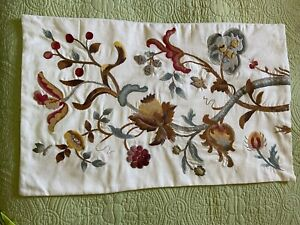 Pottery Barn Floral Crewel Embroidered  Flowers Lumbar Pillow Cover 26 x 16