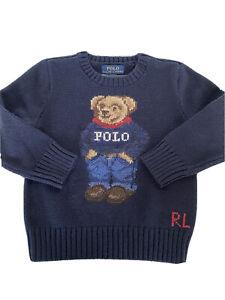 NWT $95 Polo Ralph Lauren Boys Bear Blue Cotton Sweater Size 4T