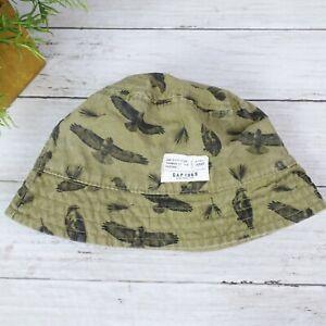 BABY GAP Bucket Hat Olive Green with Wildlife Bird Print, Size M/L