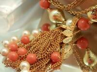 WOW Showy 5 Strand Gold Tone Coral Lucite Faux Pearl Vintage 60s Necklace 668jl0