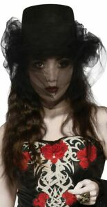 Heart of Darkness Top Hat with Veil Witch Goth Steampunk adult womens Halloween