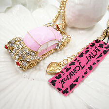 Betsey Johnson Crystal Pink Sports Car Pendant Necklace Sweater Chain