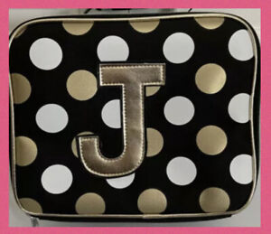 Justice Girls Black Stripe & Dot Initial Lunch Tote Letter J ~ New💕