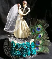 Wedding Cake Topper, Centerpiece, Peacock Feathers, Bride and Broom, Gift, Boda