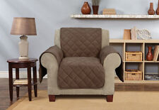 Sure Fit Deep Pile Chair Pet Cover Brown/Chocolate Non Slip Diamond Pattern