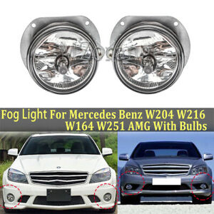 Pair Front Fog Lights For Mercedes Benz W204 W216 W164 W251 AMG With Bulbs Lamp