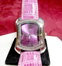 BURGI WATCH BTV011PU CRYSTALS PURPLE LEATHER STRAP LADY'S WATCH NEW BATTERY
