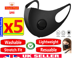5 x Washable Reusable Filter Face Mask Protective Covering Mouth Masks Black UK