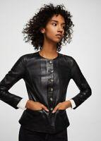 MANGO Buttoned 100% SHEEP LEATHER Collarless JACKET Size XS UK 6 8 Blogger £119