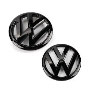 VW POLO GLOSS BLACK FRONT & REAR BADGE 2009-2013 MK5, 6R