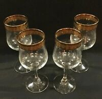 Vintage wine glasses. For sweets, Gold rims. Petite size. 7 ounce. Elegant etch.